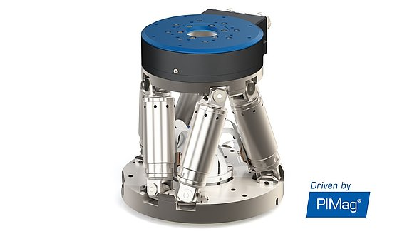 Compact torque motor rotation stage stacked on a PI hexapod for highly automated production systems