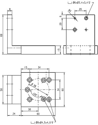PI M-009.30 Z-Axis Adapter Plate Drawing