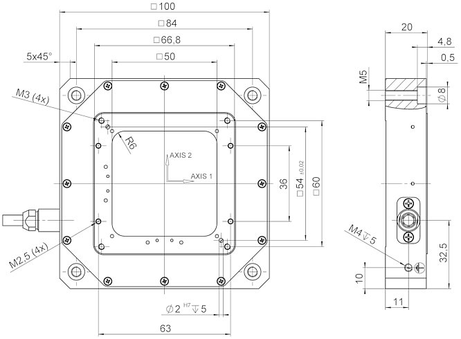 P-733.2DD, dimensions in mm