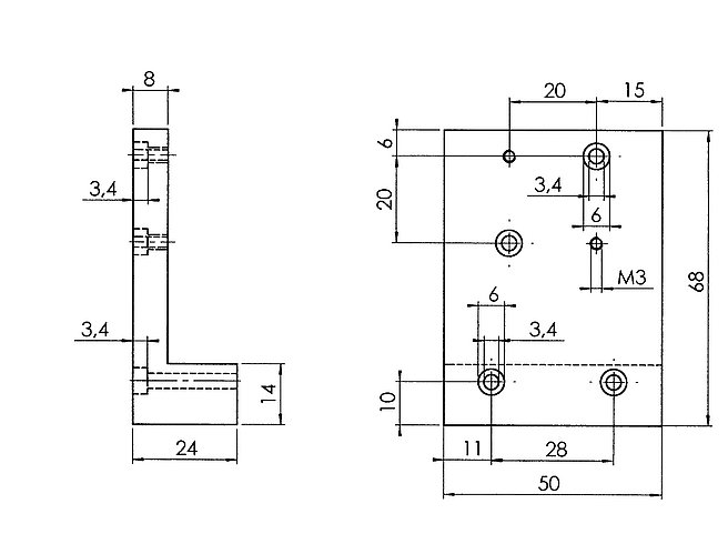 PI M-009.10 Z-Axis Mounting Bracket Drawing