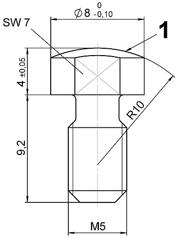 P-176.B12, dimensions in mm. 1 = Contact surface hardened and polished.