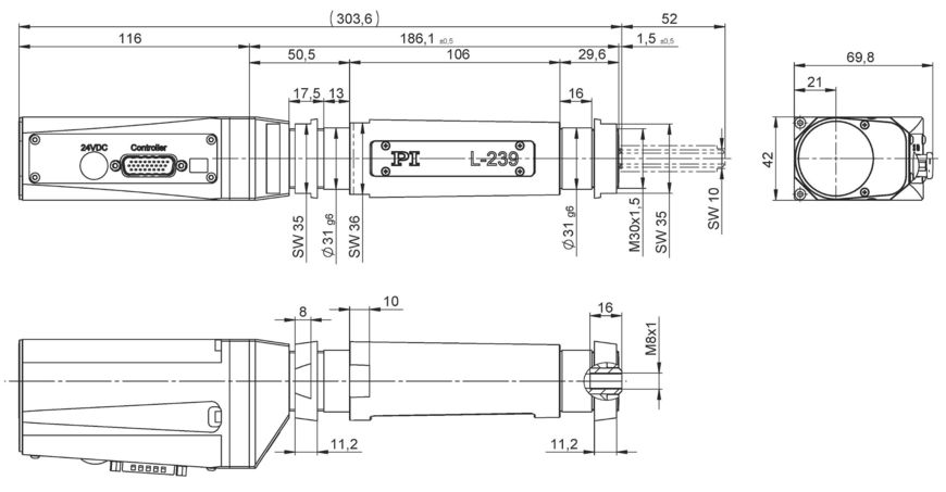 L-239.033232 with DC motor and L-239.035232 with brushless DC motor, dimensions in mm