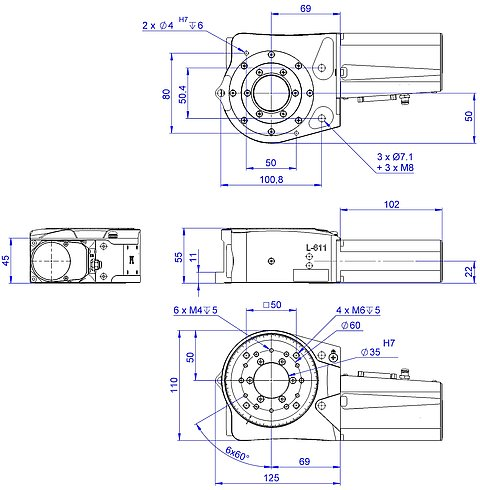 L-611 with ActiveDrive, DC, and BLDC motor, dimensions in mm