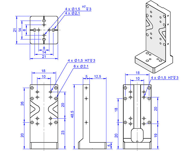 Adapter bracket Q-121.20U, dimensions in mm