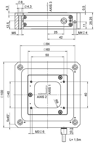 P-733.3CD / .3CL, dimensions in mm