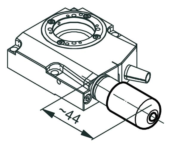 RS-40 rotation stage, DC motor, dimensions in mm