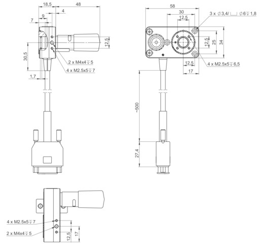DT-34 with stepper motor, dimensions in mm