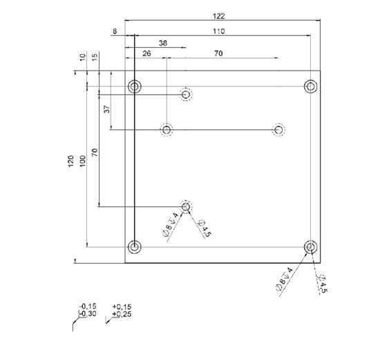 PI M-413.AP2 Adapter Bracket Drawing