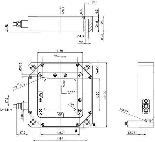 P-733.3DD, dimensions in mm