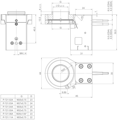 P-721.CDA, .SDA, dimensions in mm (please order adapter separately)