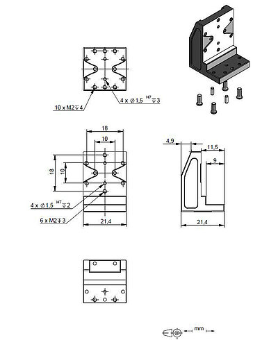 Adapter bracket Q-122.000, dimensions in mm
