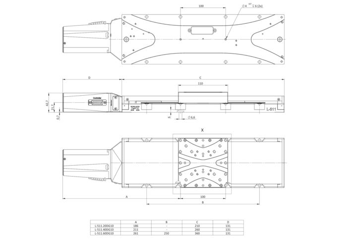 L-511 versions with DC gear motor, dimensions in mm