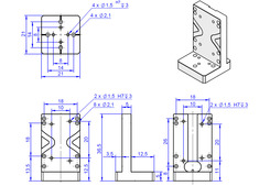Adapter bracket Q-121.10U, dimensions in mm
