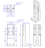 Adapter bracket Q-121.30U, dimensions in mm